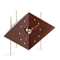 Vitra Diamond Walnut Desk Clock by George Nelson
