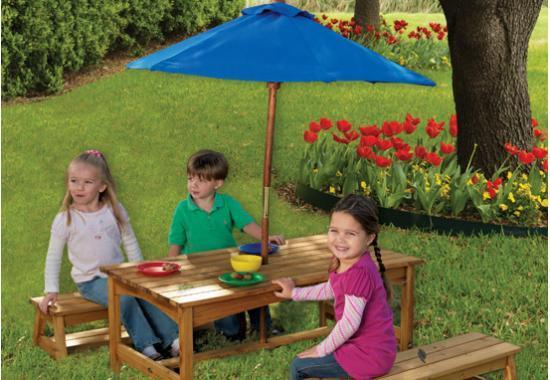 Rectangle Table & Benches with Blue Umbrella