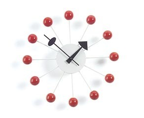 Vitra Modern Red Ball Clock by George Nelson