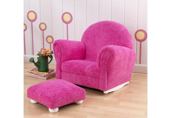 Bubble Gum Chenille Upholstered Rocker & Ottoman