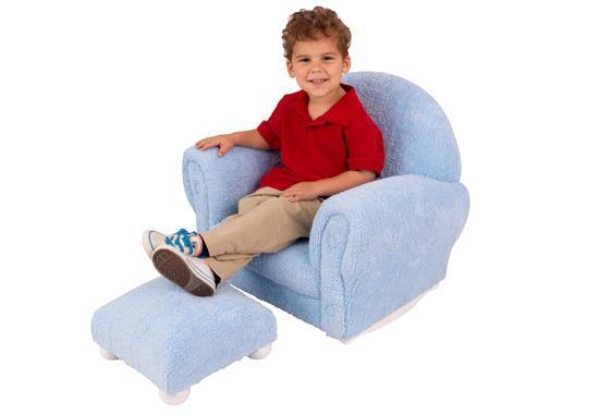 Powder Blue Chenille Upholstered Rocker & Ottoman