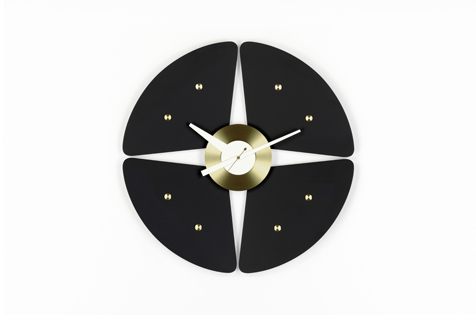 Vitra Petal Clock, black/brass  by George Nelson