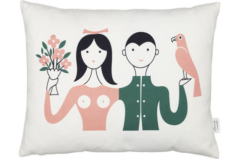 Alexander Girard Vitra Couple Graphic Pillow